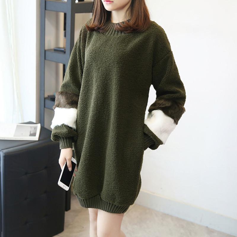 韓国 ファッション ワンピース 秋 冬 春 カジュアル PTXE172  オーバーサイズ もこもこ ボア風スウェットワンピピース ふわふわ エコファー ミニワンピ オルチャン シンプル 定番 セレカジの写真3枚目