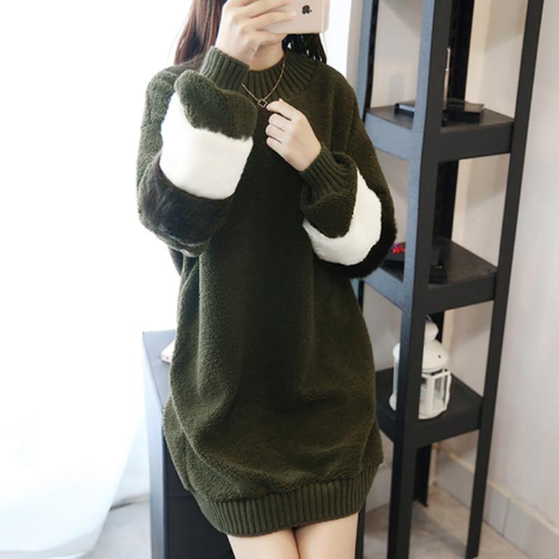 韓国 ファッション ワンピース 秋 冬 春 カジュアル PTXE172  オーバーサイズ もこもこ ボア風スウェットワンピピース ふわふわ エコファー ミニワンピ オルチャン シンプル 定番 セレカジの写真4枚目
