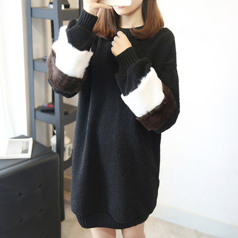 韓国 ファッション ワンピース 秋 冬 春 カジュアル PTXE172  オーバーサイズ もこもこ ボア風スウェットワンピピース ふわふわ エコファー ミニワンピ オルチャン シンプル 定番 セレカジの写真5枚目