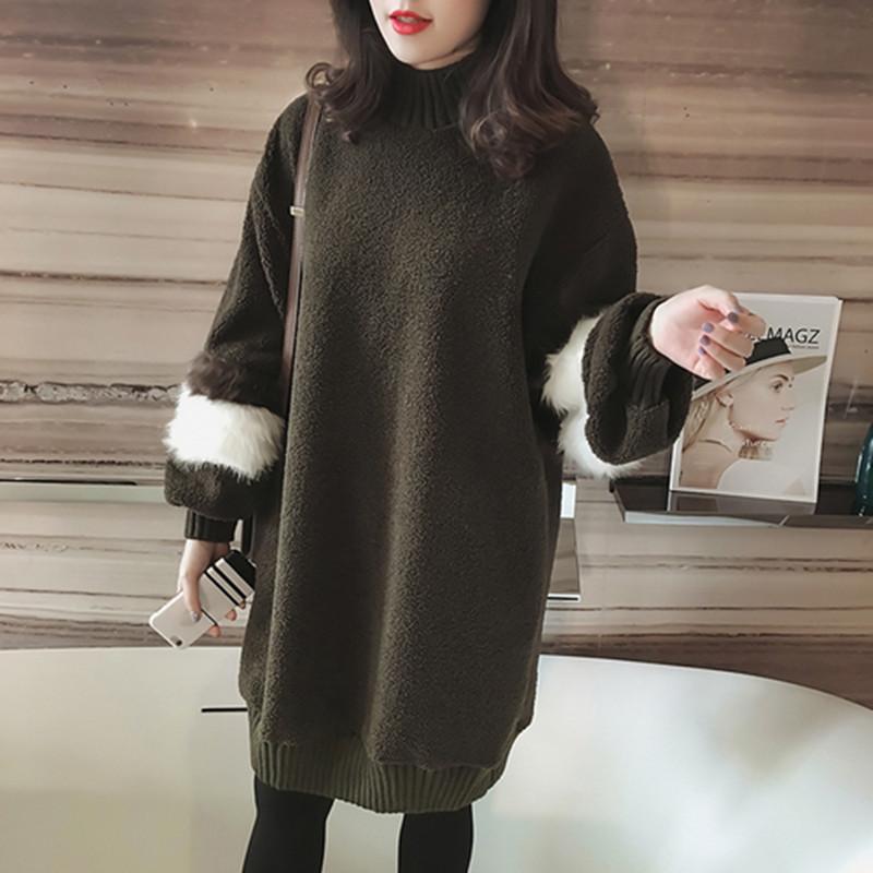 韓国 ファッション ワンピース 秋 冬 春 カジュアル PTXE172  オーバーサイズ もこもこ ボア風スウェットワンピピース ふわふわ エコファー ミニワンピ オルチャン シンプル 定番 セレカジの写真6枚目