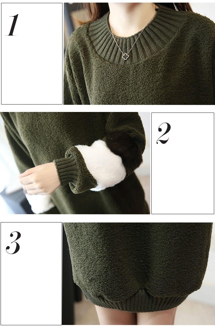 韓国 ファッション ワンピース 秋 冬 春 カジュアル PTXE172  オーバーサイズ もこもこ ボア風スウェットワンピピース ふわふわ エコファー ミニワンピ オルチャン シンプル 定番 セレカジの写真8枚目