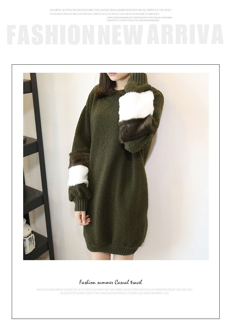 韓国 ファッション ワンピース 秋 冬 春 カジュアル PTXE172  オーバーサイズ もこもこ ボア風スウェットワンピピース ふわふわ エコファー ミニワンピ オルチャン シンプル 定番 セレカジの写真9枚目