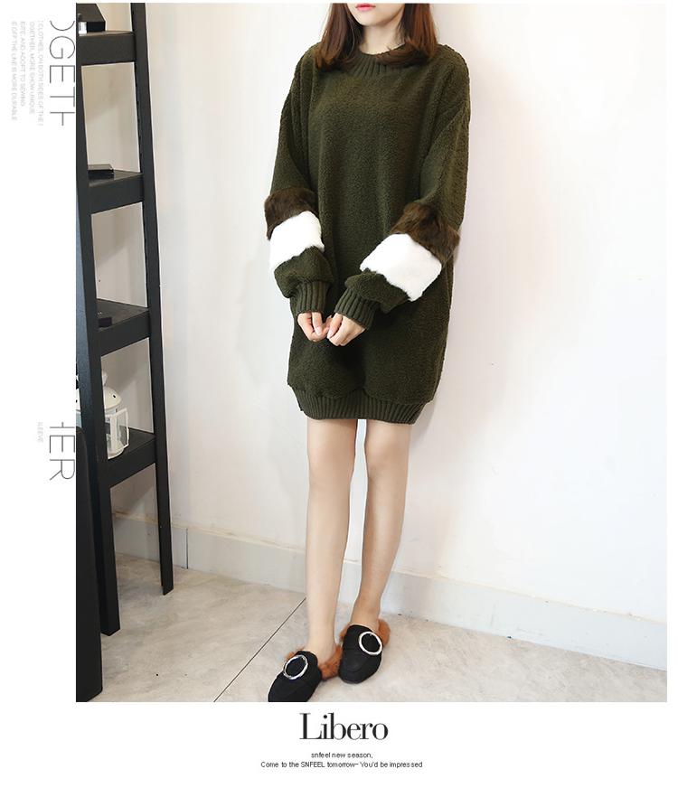 韓国 ファッション ワンピース 秋 冬 春 カジュアル PTXE172  オーバーサイズ もこもこ ボア風スウェットワンピピース ふわふわ エコファー ミニワンピ オルチャン シンプル 定番 セレカジの写真10枚目