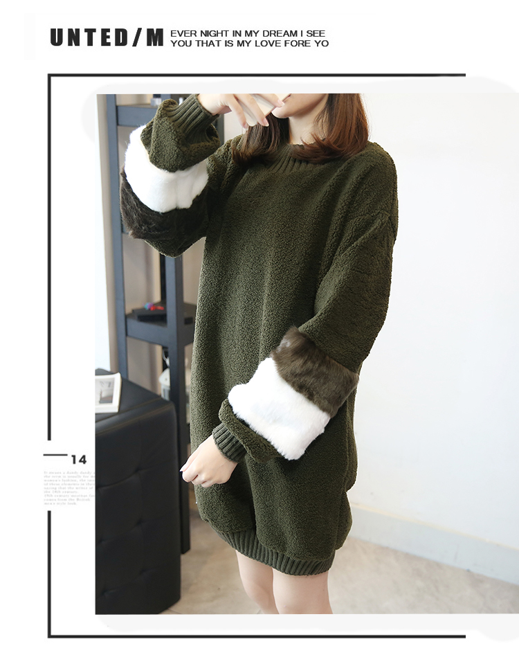 韓国 ファッション ワンピース 秋 冬 春 カジュアル PTXE172  オーバーサイズ もこもこ ボア風スウェットワンピピース ふわふわ エコファー ミニワンピ オルチャン シンプル 定番 セレカジの写真11枚目