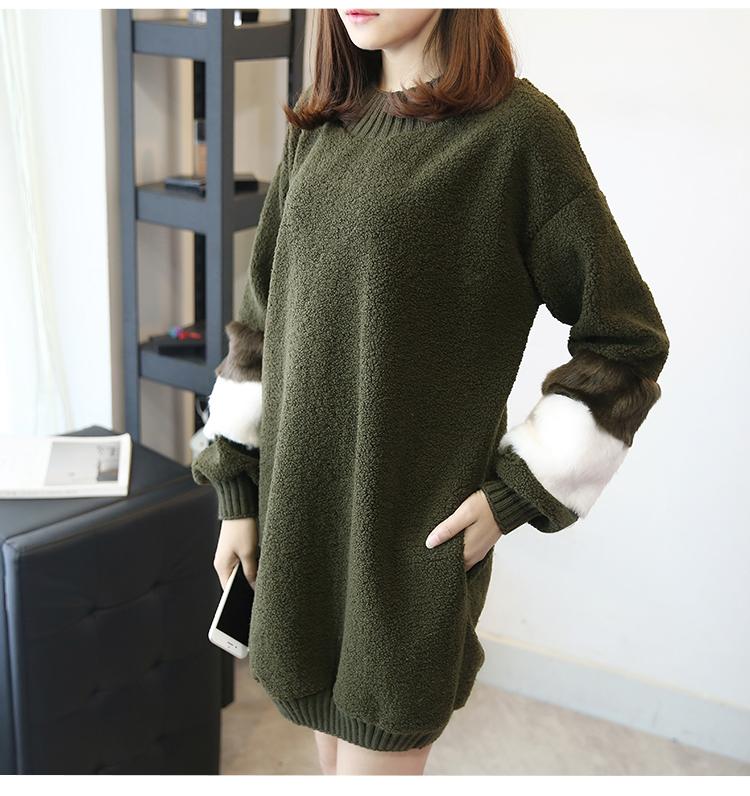 韓国 ファッション ワンピース 秋 冬 春 カジュアル PTXE172  オーバーサイズ もこもこ ボア風スウェットワンピピース ふわふわ エコファー ミニワンピ オルチャン シンプル 定番 セレカジの写真12枚目