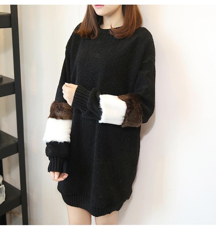 韓国 ファッション ワンピース 秋 冬 春 カジュアル PTXE172  オーバーサイズ もこもこ ボア風スウェットワンピピース ふわふわ エコファー ミニワンピ オルチャン シンプル 定番 セレカジの写真14枚目