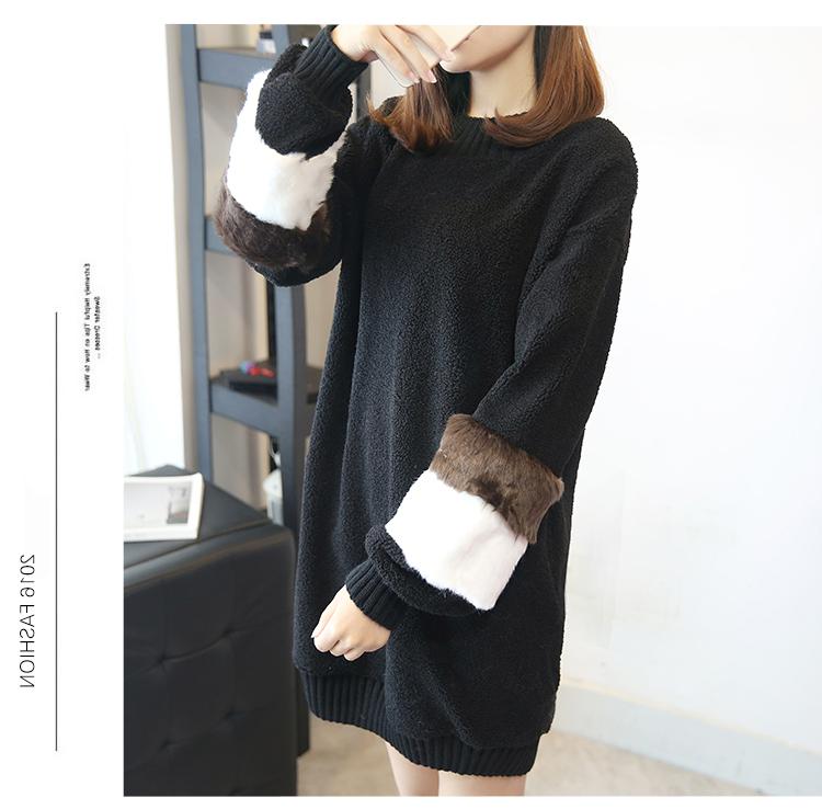 韓国 ファッション ワンピース 秋 冬 春 カジュアル PTXE172  オーバーサイズ もこもこ ボア風スウェットワンピピース ふわふわ エコファー ミニワンピ オルチャン シンプル 定番 セレカジの写真18枚目