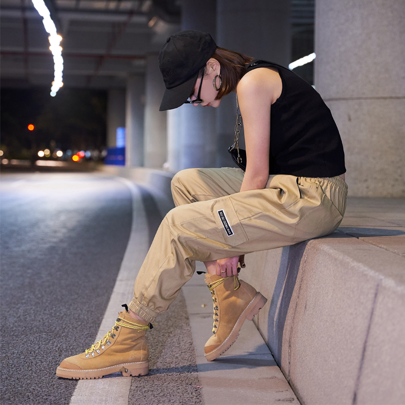 【即納】韓国 ファッション パンツ ボトムス 秋 夏 春 カジュアル SPTXE508  ワイド リブ カーゴ ジョガー イージー ストリート スポーティ オルチャン シンプル 定番 セレカジの写真2枚目