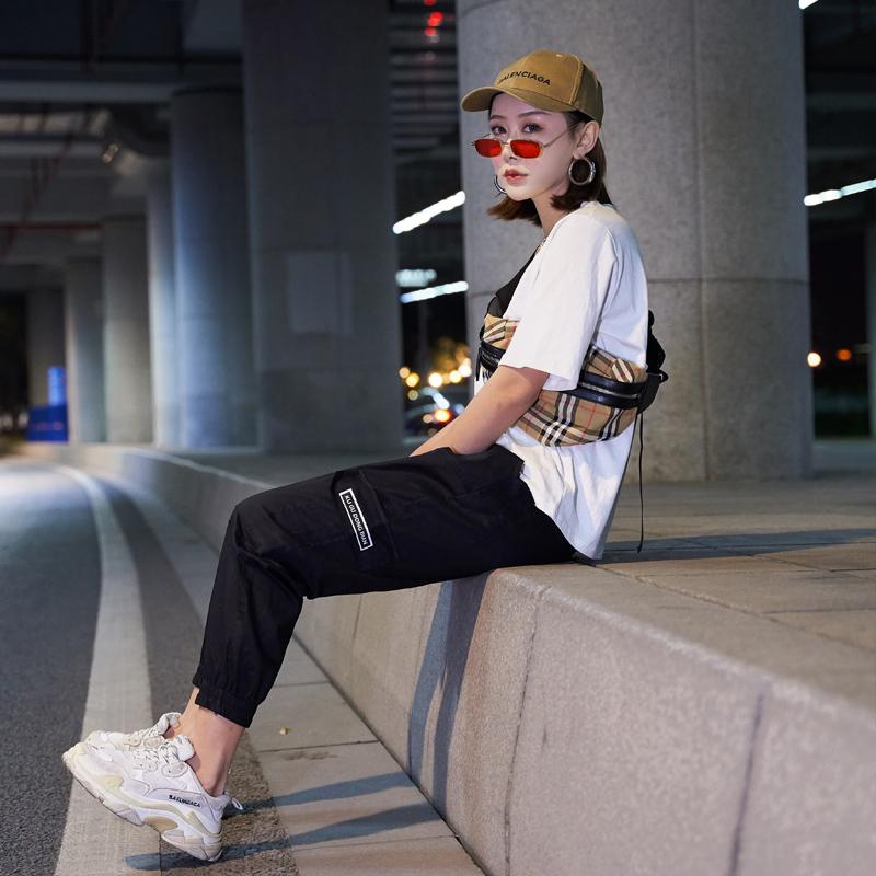 【即納】韓国 ファッション パンツ ボトムス 秋 夏 春 カジュアル SPTXE508  ワイド リブ カーゴ ジョガー イージー ストリート スポーティ オルチャン シンプル 定番 セレカジの写真4枚目