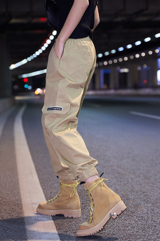 【即納】韓国 ファッション パンツ ボトムス 秋 夏 春 カジュアル SPTXE508  ワイド リブ カーゴ ジョガー イージー ストリート スポーティ オルチャン シンプル 定番 セレカジの写真6枚目