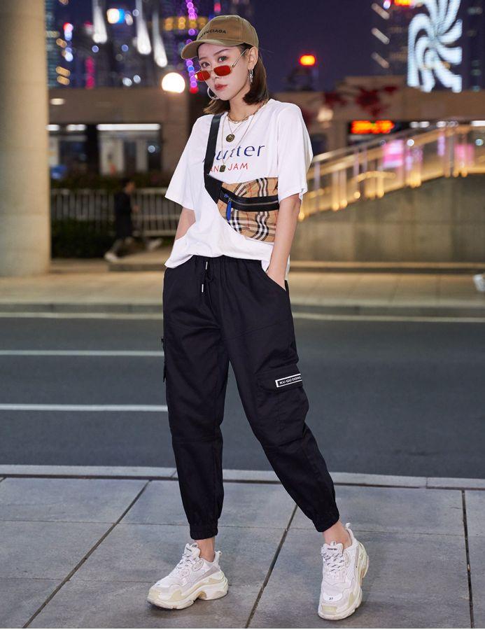 【即納】韓国 ファッション パンツ ボトムス 秋 夏 春 カジュアル SPTXE508  ワイド リブ カーゴ ジョガー イージー ストリート スポーティ オルチャン シンプル 定番 セレカジの写真7枚目