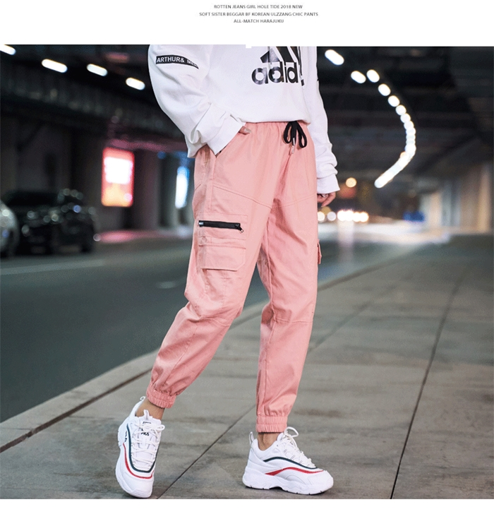 【即納】韓国 ファッション パンツ ボトムス 秋 夏 春 カジュアル SPTXE508  ワイド リブ カーゴ ジョガー イージー ストリート スポーティ オルチャン シンプル 定番 セレカジの写真8枚目