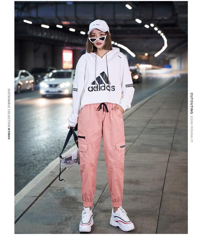 【即納】韓国 ファッション パンツ ボトムス 秋 夏 春 カジュアル SPTXE508  ワイド リブ カーゴ ジョガー イージー ストリート スポーティ オルチャン シンプル 定番 セレカジの写真9枚目