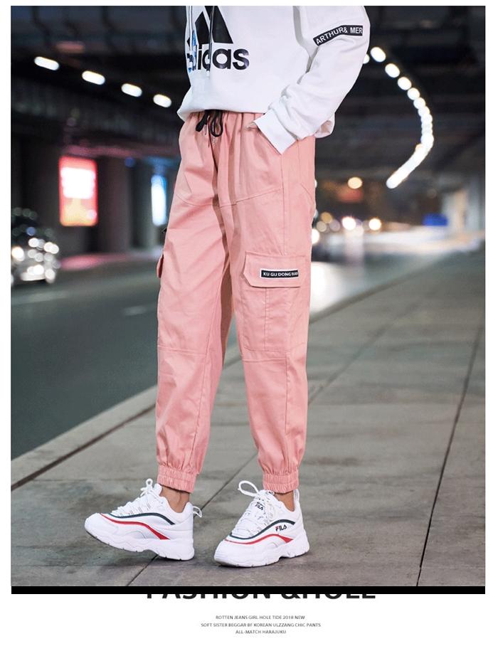 【即納】韓国 ファッション パンツ ボトムス 秋 夏 春 カジュアル SPTXE508  ワイド リブ カーゴ ジョガー イージー ストリート スポーティ オルチャン シンプル 定番 セレカジの写真10枚目