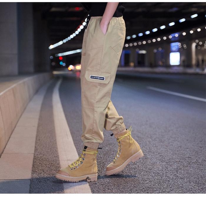 【即納】韓国 ファッション パンツ ボトムス 秋 夏 春 カジュアル SPTXE508  ワイド リブ カーゴ ジョガー イージー ストリート スポーティ オルチャン シンプル 定番 セレカジの写真12枚目