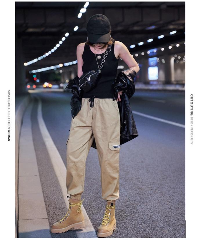 【即納】韓国 ファッション パンツ ボトムス 秋 夏 春 カジュアル SPTXE508  ワイド リブ カーゴ ジョガー イージー ストリート スポーティ オルチャン シンプル 定番 セレカジの写真13枚目