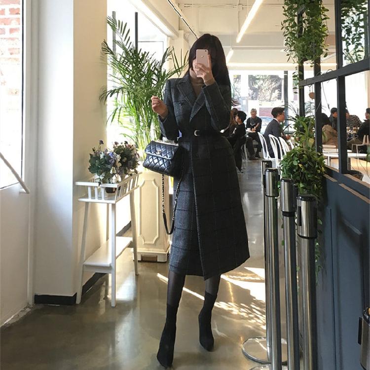 韓国 ファッション アウター コート 秋 冬 春 カジュアル PTXE549  ウィンドウペンチェック シック エレガント ツイード チェスター パーティー オフ オルチャン シンプル 定番 セレカジの写真7枚目