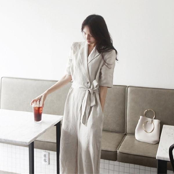 韓国 ファッション オールインワン サロペット 春 夏 カジュアル PTXE641  リネン風 五分袖 ワイドパンツ リラクシー エレガント リゾート オルチャン シンプル 定番 セレカジの写真2枚目
