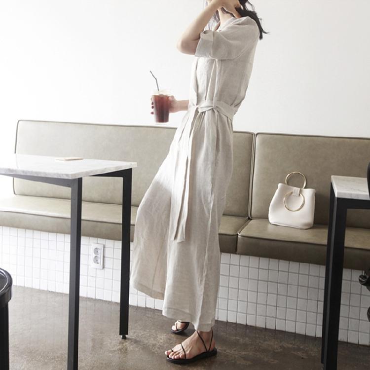 韓国 ファッション オールインワン サロペット 春 夏 カジュアル PTXE641  リネン風 五分袖 ワイドパンツ リラクシー エレガント リゾート オルチャン シンプル 定番 セレカジの写真5枚目