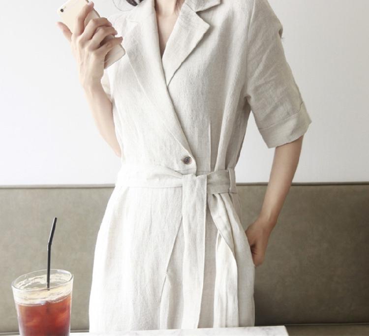 韓国 ファッション オールインワン サロペット 春 夏 カジュアル PTXE641  リネン風 五分袖 ワイドパンツ リラクシー エレガント リゾート オルチャン シンプル 定番 セレカジの写真8枚目