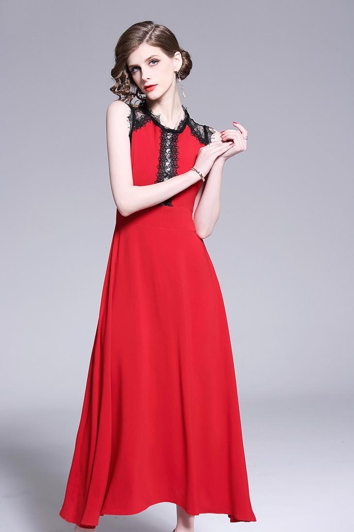 韓国 ファッション ワンピース パーティードレス ロング マキシ 春 夏 パーティー ブライダル PTXE759 結婚式 お呼ばれ バイカラー レース使い イレギュラーヘム  二次会 セレブ きれいめの写真6枚目