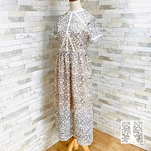 【即納】韓国 ファッション ワンピース パーティードレス ロング マキシ 夏 春 パーティー ブライダル SPTXE760 結婚式 お呼ばれ 総レース スタンドカラー ギャザ 二次会 セレブ きれいめの写真1枚目