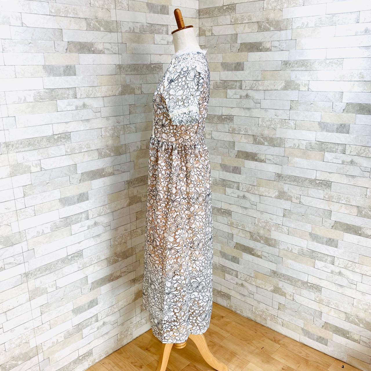 【即納】韓国 ファッション ワンピース パーティードレス ロング マキシ 夏 春 パーティー ブライダル SPTXE760 結婚式 お呼ばれ 総レース スタンドカラー ギャザ 二次会 セレブ きれいめの写真4枚目