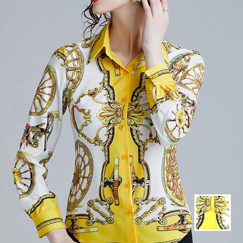 韓国 ファッション トップス ブラウス シャツ 夏 春 パーティー ブライダル PTXE826  光沢 レトロ スカーフ柄 襟付き ドレス オフィス 二次会 セレブ きれいめの写真1枚目