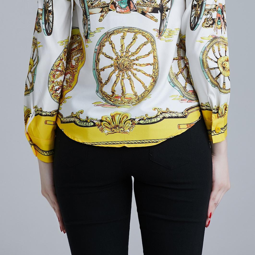 韓国 ファッション トップス ブラウス シャツ 夏 春 パーティー ブライダル PTXE826  光沢 レトロ スカーフ柄 襟付き ドレス オフィス 二次会 セレブ きれいめの写真6枚目