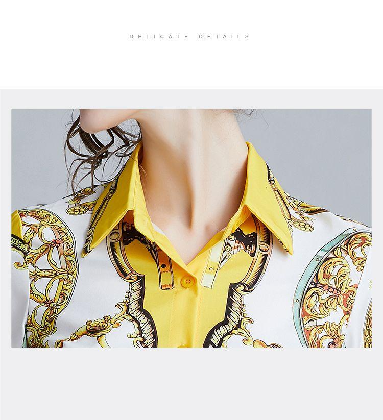 韓国 ファッション トップス ブラウス シャツ 夏 春 パーティー ブライダル PTXE826  光沢 レトロ スカーフ柄 襟付き ドレス オフィス 二次会 セレブ きれいめの写真7枚目