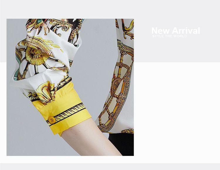 韓国 ファッション トップス ブラウス シャツ 夏 春 パーティー ブライダル PTXE826  光沢 レトロ スカーフ柄 襟付き ドレス オフィス 二次会 セレブ きれいめの写真8枚目