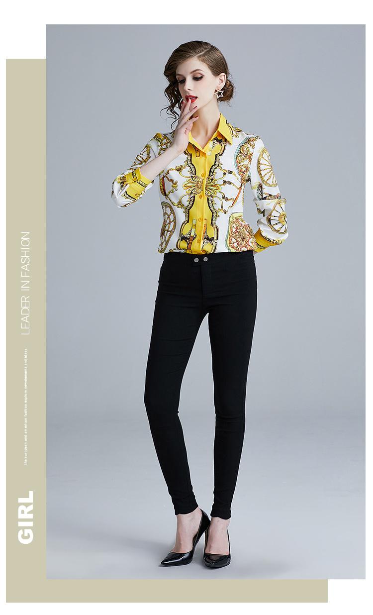 韓国 ファッション トップス ブラウス シャツ 夏 春 パーティー ブライダル PTXE826  光沢 レトロ スカーフ柄 襟付き ドレス オフィス 二次会 セレブ きれいめの写真12枚目