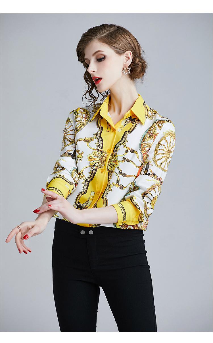 韓国 ファッション トップス ブラウス シャツ 夏 春 パーティー ブライダル PTXE826  光沢 レトロ スカーフ柄 襟付き ドレス オフィス 二次会 セレブ きれいめの写真15枚目