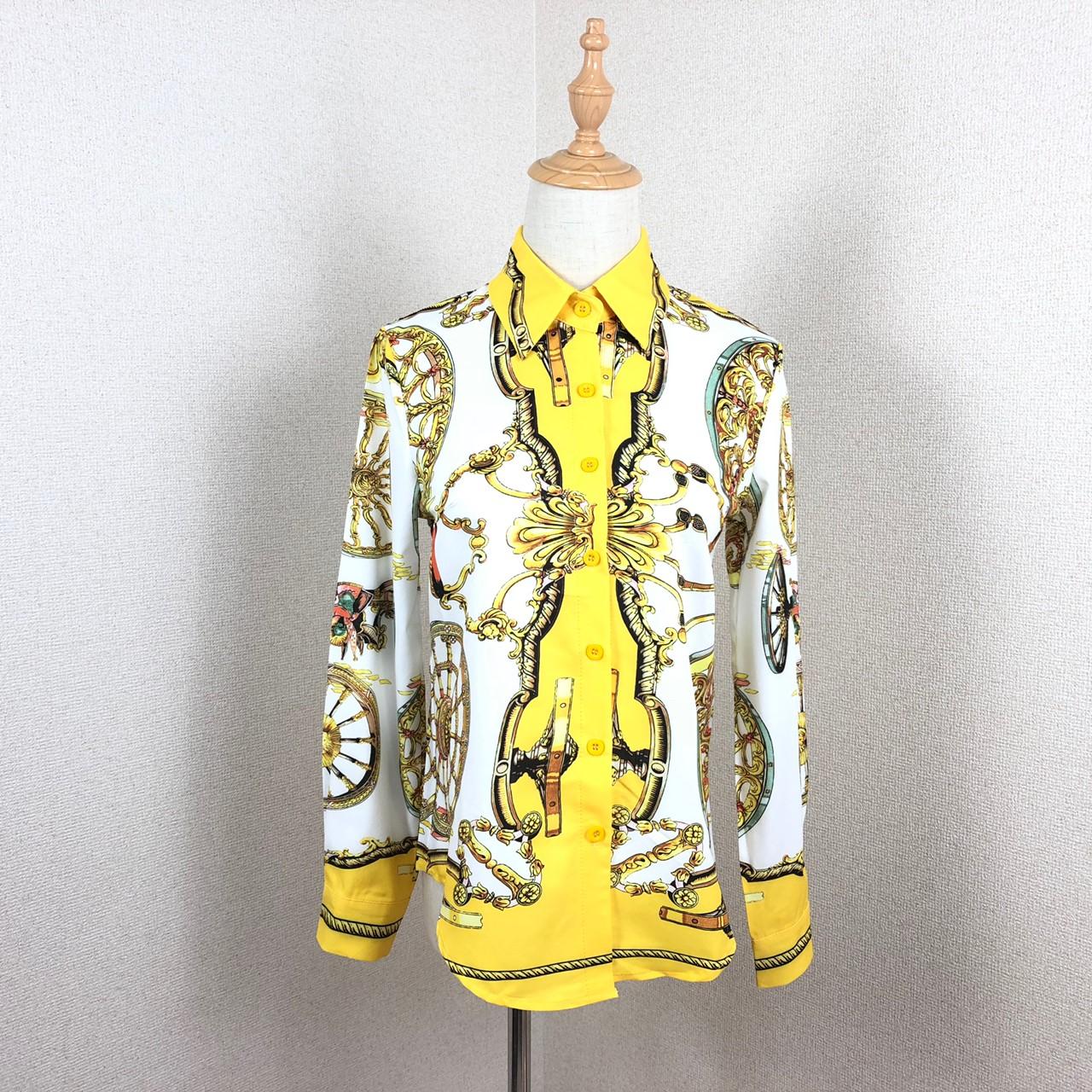 韓国 ファッション トップス ブラウス シャツ 夏 春 パーティー ブライダル PTXE826  光沢 レトロ スカーフ柄 襟付き ドレス オフィス 二次会 セレブ きれいめの写真18枚目