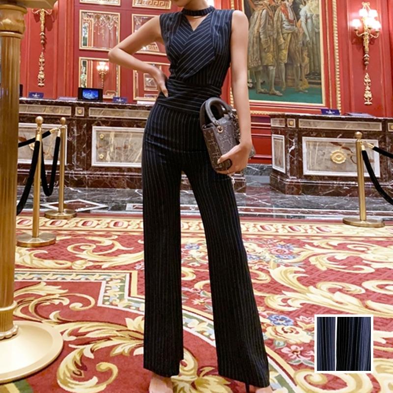 韓国 ファッション オールインワン サロペット 春 夏 パーティー ブライダル PTXE912  チョーカー風 Vネック ウエストマーク ワイドパンツ ドレス 二次会 セレブ きれいめの写真1枚目