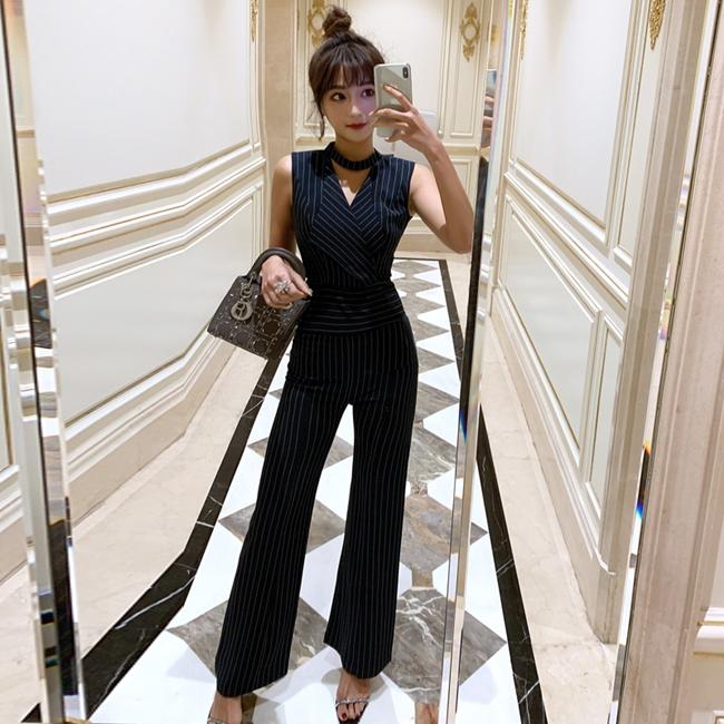 韓国 ファッション オールインワン サロペット 春 夏 パーティー ブライダル PTXE912  チョーカー風 Vネック ウエストマーク ワイドパンツ ドレス 二次会 セレブ きれいめの写真4枚目