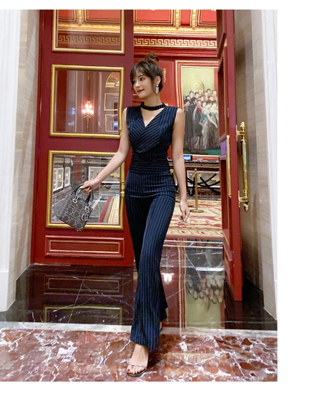 韓国 ファッション オールインワン サロペット 春 夏 パーティー ブライダル PTXE912  チョーカー風 Vネック ウエストマーク ワイドパンツ ドレス 二次会 セレブ きれいめの写真7枚目