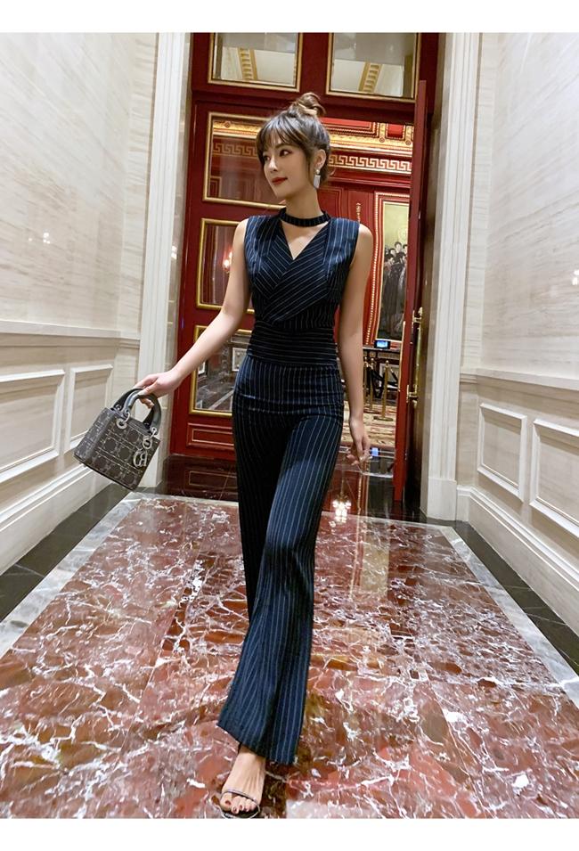 韓国 ファッション オールインワン サロペット 春 夏 パーティー ブライダル PTXE912  チョーカー風 Vネック ウエストマーク ワイドパンツ ドレス 二次会 セレブ きれいめの写真9枚目