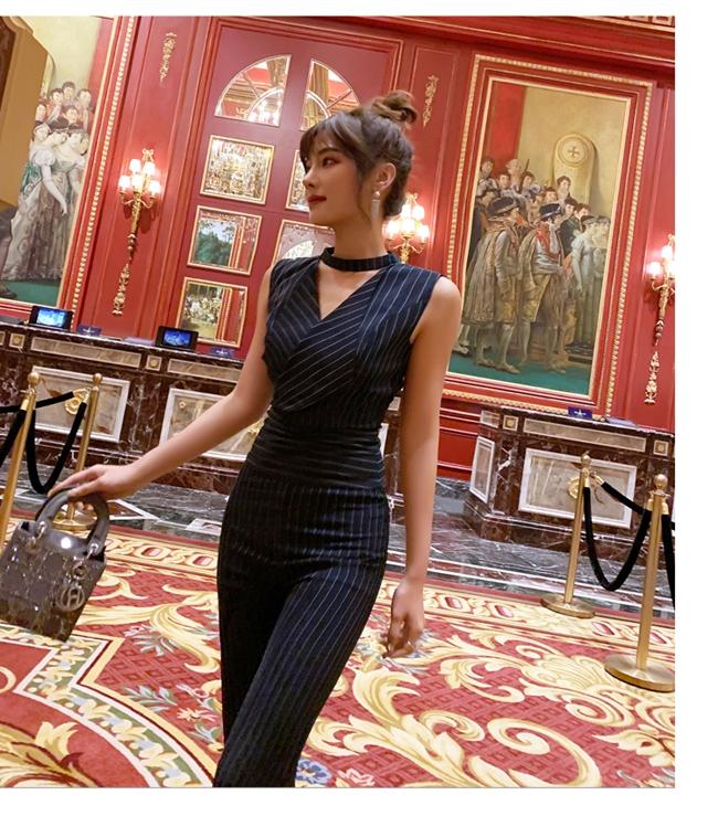 韓国 ファッション オールインワン サロペット 春 夏 パーティー ブライダル PTXE912  チョーカー風 Vネック ウエストマーク ワイドパンツ ドレス 二次会 セレブ きれいめの写真10枚目