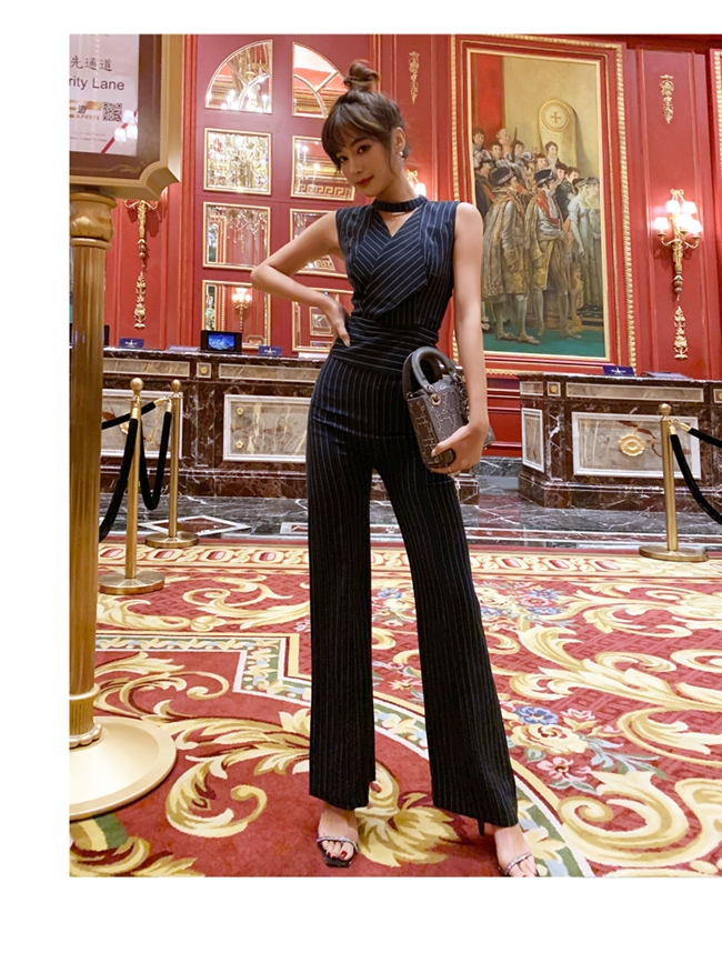 韓国 ファッション オールインワン サロペット 春 夏 パーティー ブライダル PTXE912  チョーカー風 Vネック ウエストマーク ワイドパンツ ドレス 二次会 セレブ きれいめの写真11枚目