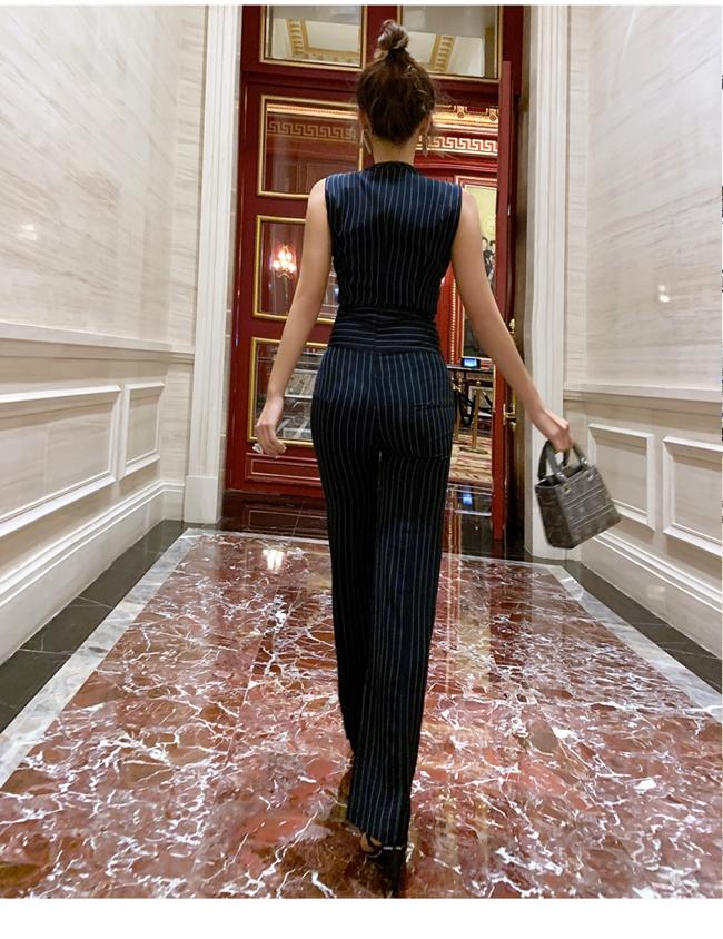 韓国 ファッション オールインワン サロペット 春 夏 パーティー ブライダル PTXE912  チョーカー風 Vネック ウエストマーク ワイドパンツ ドレス 二次会 セレブ きれいめの写真12枚目