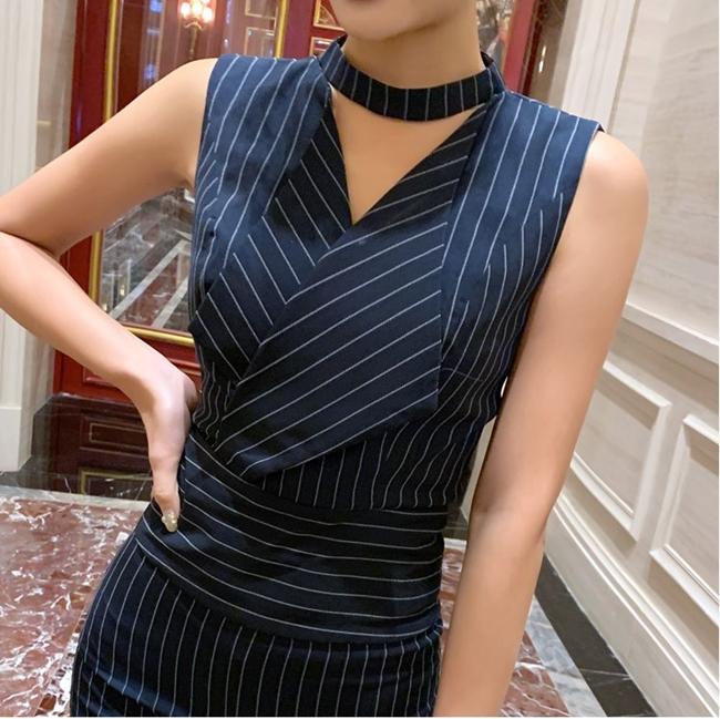 韓国 ファッション オールインワン サロペット 春 夏 パーティー ブライダル PTXE912  チョーカー風 Vネック ウエストマーク ワイドパンツ ドレス 二次会 セレブ きれいめの写真13枚目