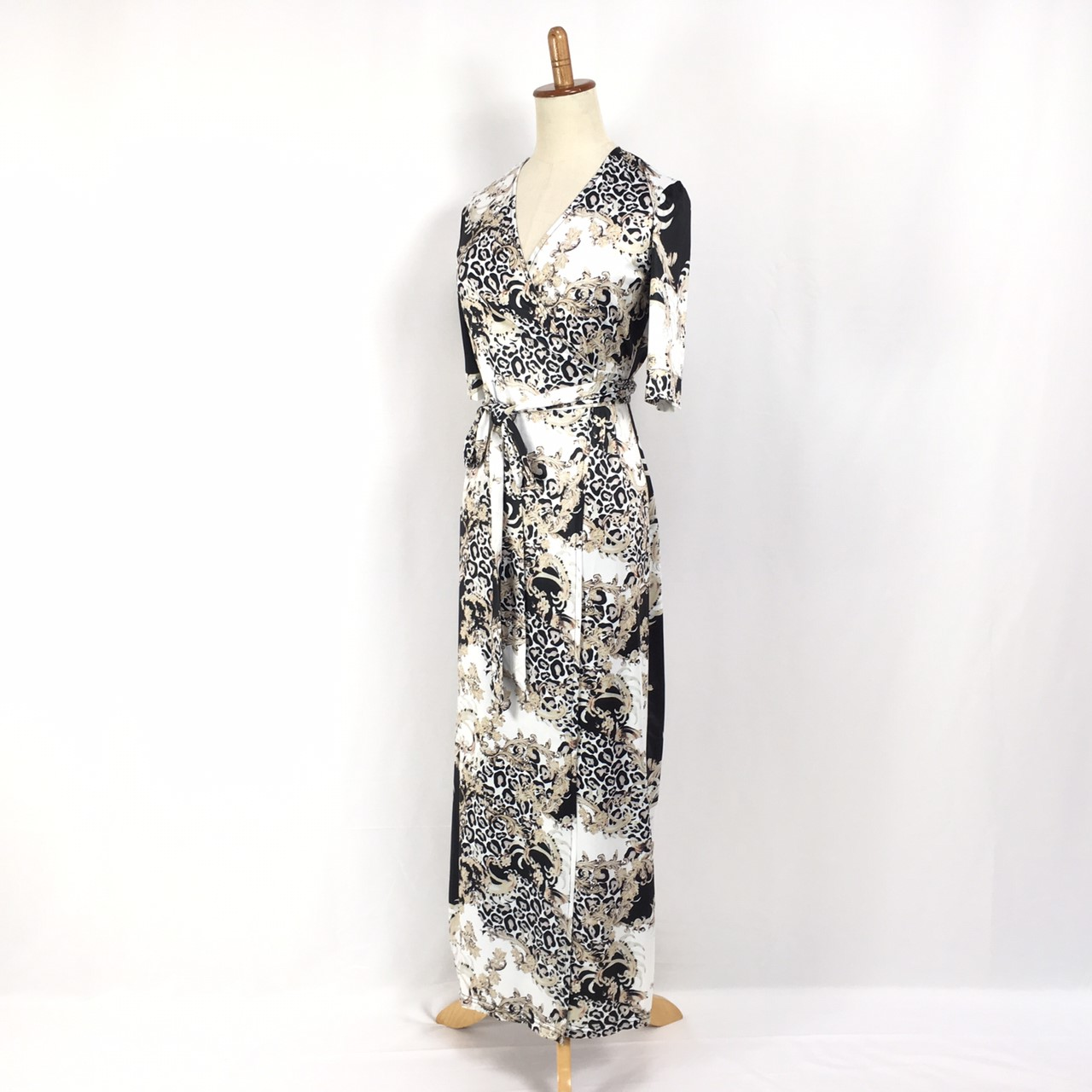 韓国 ファッション ワンピース パーティードレス ロング マキシ 夏 春 パーティー ブライダル PTXF019 結婚式 お呼ばれ カシュクール ハイショルダー ウエストマー 二次会 セレブ きれいめの写真14枚目