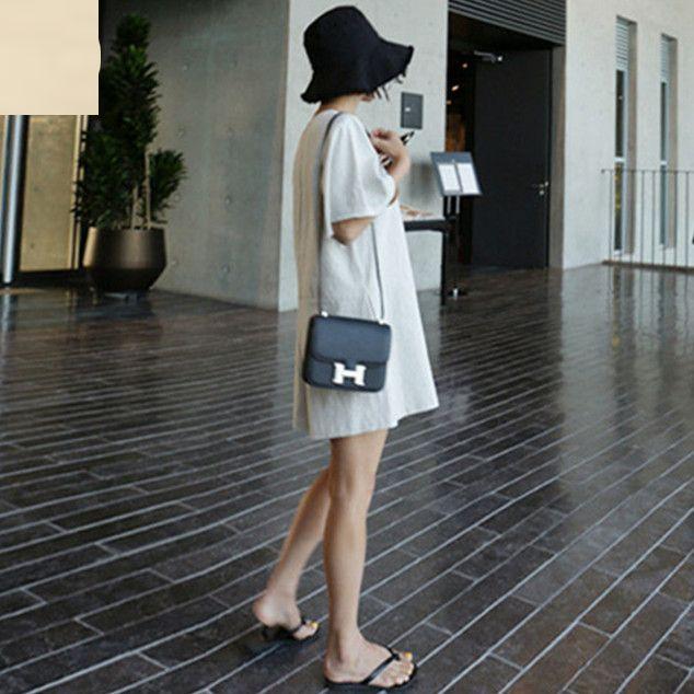 韓国 ファッション オールインワン サロペット 春 夏 カジュアル PTXF166  リネン フレアスリーブ ヘンリーネック Vネック フロントボタン Aライン オルチャン シンプル 定番 セレカジの写真3枚目