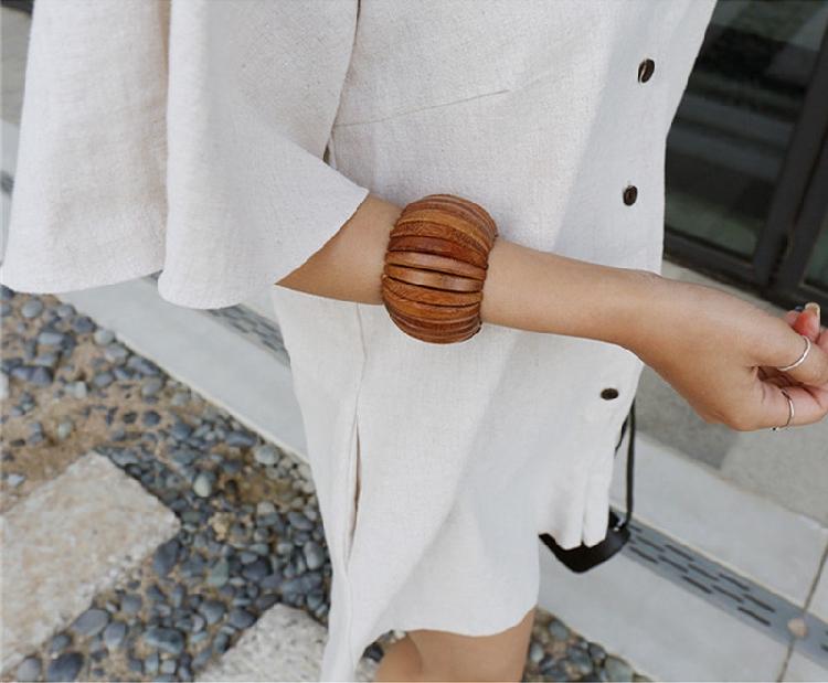 韓国 ファッション オールインワン サロペット 春 夏 カジュアル PTXF166  リネン フレアスリーブ ヘンリーネック Vネック フロントボタン Aライン オルチャン シンプル 定番 セレカジの写真8枚目