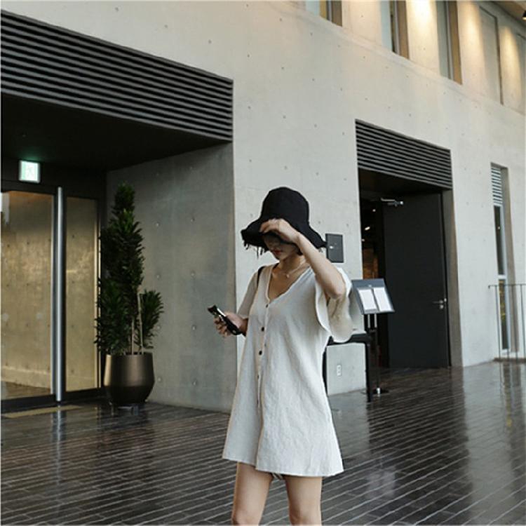 韓国 ファッション オールインワン サロペット 春 夏 カジュアル PTXF166  リネン フレアスリーブ ヘンリーネック Vネック フロントボタン Aライン オルチャン シンプル 定番 セレカジの写真10枚目