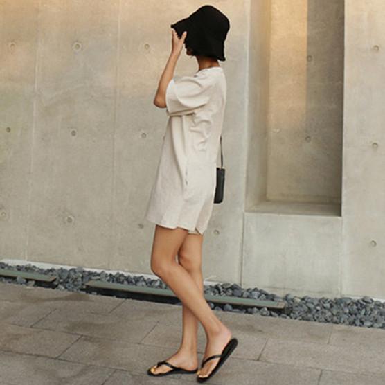 韓国 ファッション オールインワン サロペット 春 夏 カジュアル PTXF166  リネン フレアスリーブ ヘンリーネック Vネック フロントボタン Aライン オルチャン シンプル 定番 セレカジの写真11枚目
