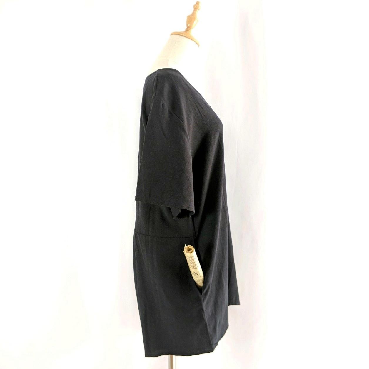 韓国 ファッション オールインワン サロペット 春 夏 カジュアル PTXF166  リネン フレアスリーブ ヘンリーネック Vネック フロントボタン Aライン オルチャン シンプル 定番 セレカジの写真18枚目