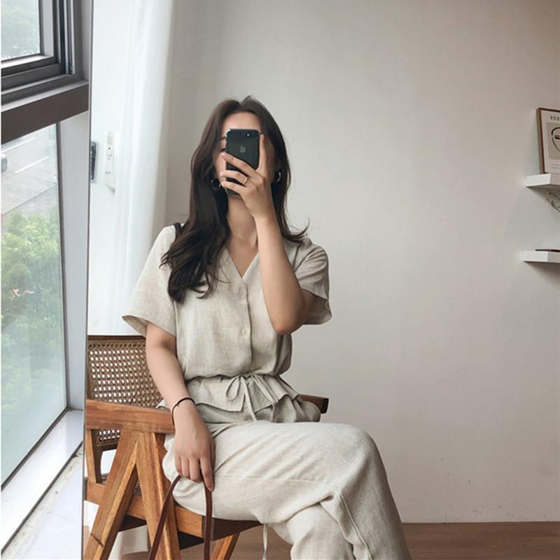 韓国 ファッション オールインワン サロペット 春 夏 カジュアル PTXF210  ノーカラー ペプラム風 ウエストマーク ワイドパンツ リネン リゾート オルチャン シンプル 定番 セレカジの写真10枚目