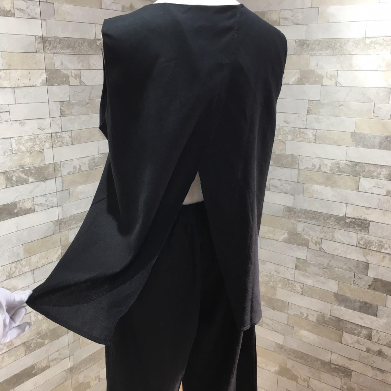 韓国 ファッション セットアップ 春 夏 カジュアル PTXF216  リネン アシンメトリー バックスリット 九分丈 ワイドパンツ リゾート オフィス オルチャン シンプル 定番 セレカジの写真16枚目